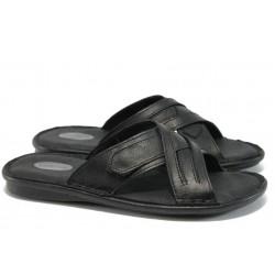 Анатомични мъжки чехли от естествена кожа КН 022-8069 черен