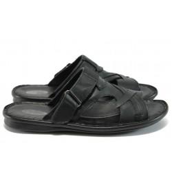 Анатомични мъжки чехли - сандали от естествена кожа КН 109-8069 черен