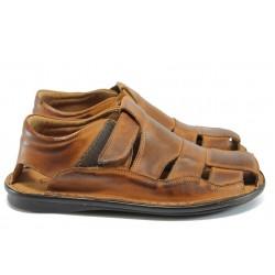 Анатомични мъжки сандали от естествена кожа КН 02-8069 кафяв