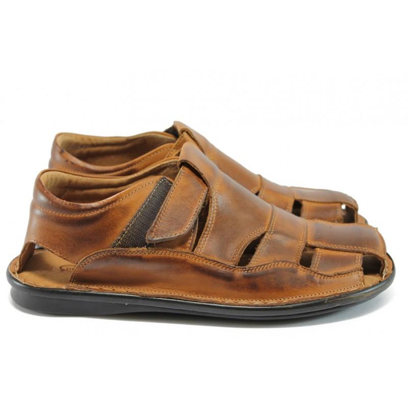 9b0e381acfa Анатомични мъжки сандали от естествена кожа КН 02-8069 кафяв
