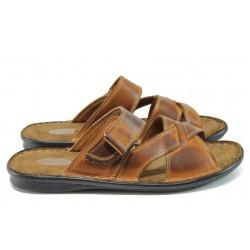 Анатомични мъжки чехли от естествена кожа КН 142-8069 кафяв