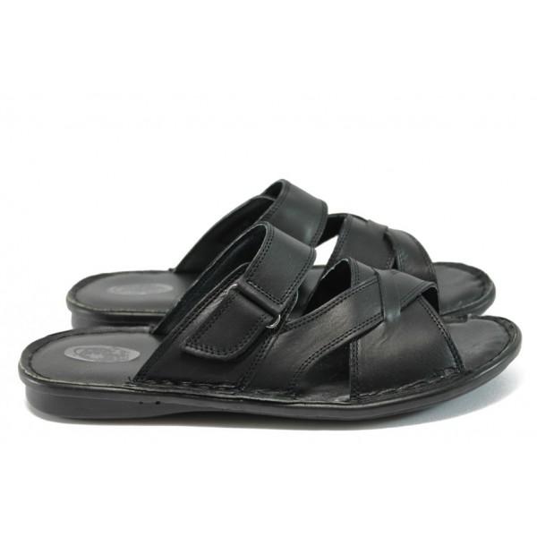 Анатомични мъжки чехли от естествена кожа КН 142-8069 черен