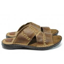 Ортопедични мъжки чехли от естествена кожа КН 168 кафяв-гигант
