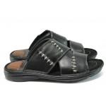 Ортопедични мъжки чехли от естествена кожа КН 168 черен-гигант