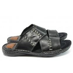 Ортопедични мъжки чехли от естествена кожа КН 168 черен