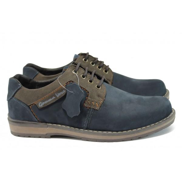 Мъжки анатомични обувки от естествена кожа МЙ 83325А син