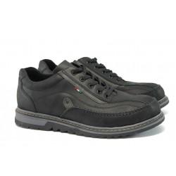 Мъжки спортни обувки от естествена кожа МИ 1095 черен