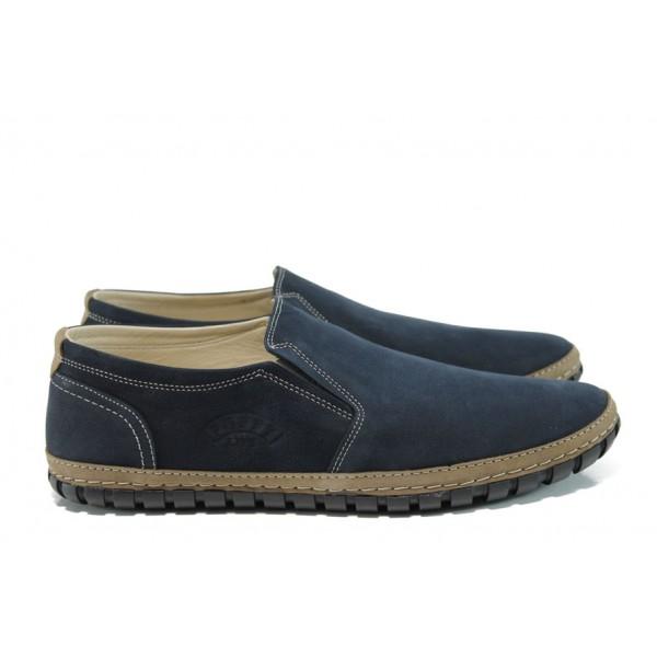 Анатомични мъжки обувки от естествена кожа ПИ 749 син   Мъжки обувки   MES.BG