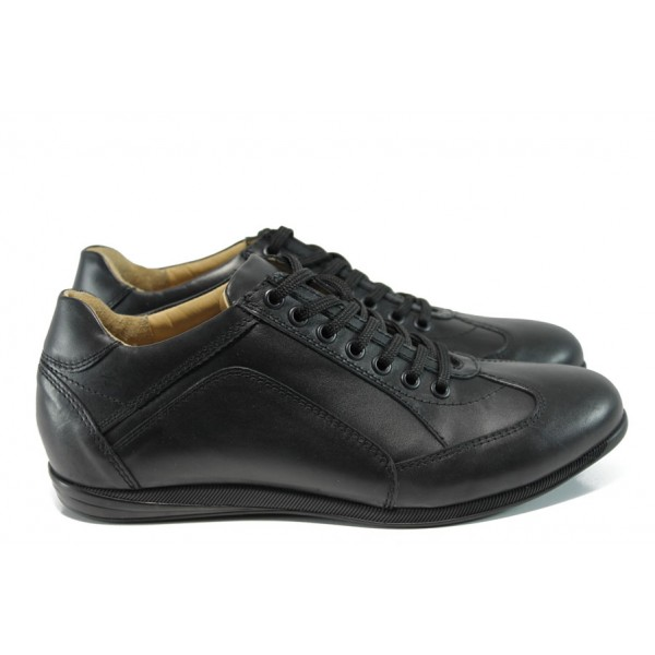 Анатомични мъжки обувки от естествена кожа МО 2111-30987 черен | Мъжки обувки | MES.BG