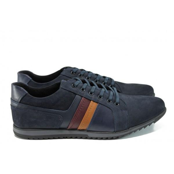 Анатомични мъжки обувки от естествена кожа МИ 651 син   Мъжки обувки   MES.BG