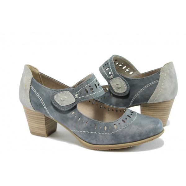 Дамски обувки на среден ток за Н крак Jana 8-24366-26 син