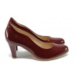 Дамски обувки на висок ток от естествена кожа-лак Caprice 9-22406-26 червен ANTISHOKK