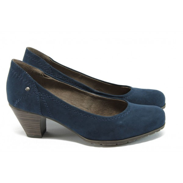 Дамски класически обувки на среден ток Jana 8-22465-26 син велур