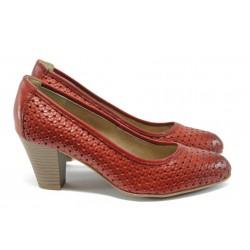 Дамски обувки на ток от естествена кожа Jana 8-22401-26 червен