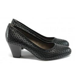Дамски обувки на ток от естествена кожа Jana 8-22401-26 черен