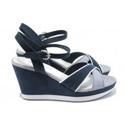 Дамски сандали на платформа Marco Tozzi 2-28352-26 син