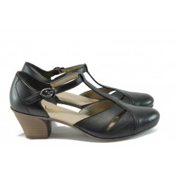 Дамски обувки от естествена кожа Rieker 45054-00 черен ANTISTRESS