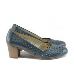 Дамски ортопедични обувки от естествена кожа Remonte D0805-14 син
