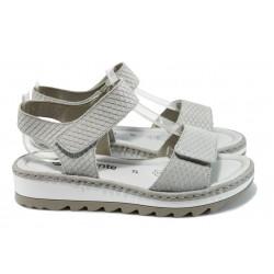 Ортопедични дамски сандали от естествена кожа Remonte R7753-80 бял
