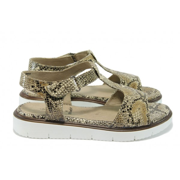 Атрактивни дамски сандали със змийска шарка Jana 8-28607-26 бежов змия