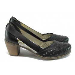 Дамски обувки от естествена кожа с перфорации Rieker 40985 черен