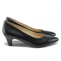 Стилни дамски обувки на ток от естествена кожа Caprice 9-22401-26 черен