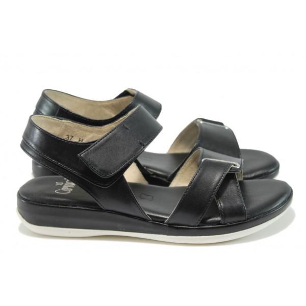 Ортопедични дамски сандали от естествена кожа Caprice 2-28703-26Н черен