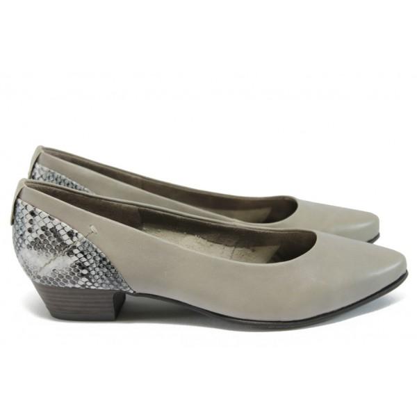 """Дамски обувки от естествена кожа с """"кроко"""" мотив Jana 8-22200-26 таупе"""
