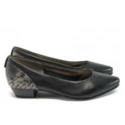 """Дамски обувки от естествена кожа с """"кроко"""" мотив Jana 8-22200-26 черен кроко"""