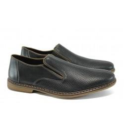 Мъжки обувки от естествена кожа с перфорация Rieker 13455-00 черен ANTISTRESS