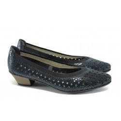 Дамски обувки от естествена кожа Rieker 58065-14 син ANTISTRESS