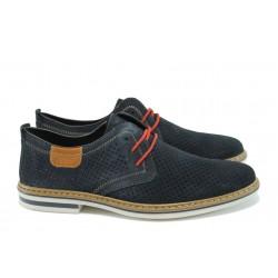Мъжки обувки от естествен набук с перфорация Rieker B1406-14 т.син ANTISTRESS