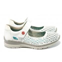 Ортопедични дамски обувки от естествена кожа Rieker L3285-80 бял ANTISTRESS