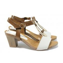 Дамски сандали от естествена кожа Caprice 9-28308-26 бял-кафяв