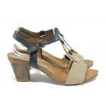 Дамски сандали от естествена кожа Caprice 9-28308-26 бежов-син