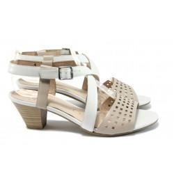 Дамски сандали от естествена кожа Caprice 9-28301-26 бежов-бял