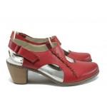 Дамски обувки от естествена кожа Rieker 40950-33 червен ANTISTRESS