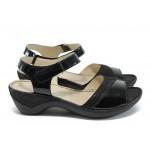 Дамски сандали от естествена кожа Caprice 9-28250-26 черен ANTISHOKK