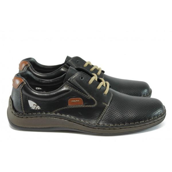 Мъжки обувки от естествена кожа Rieker 05216-00 черен ANTISTRESS