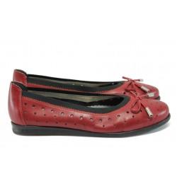 Дамски обувки от естествена кожа Rieker L1065-33 червен