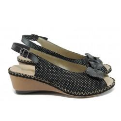 Ортопедични дамски сандали от естествена кожа Rieker 66171-00 черен ANTISTRESS