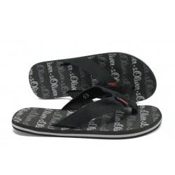 Мъжки равни чехли с каишка между пръстите S.Oliver 5-17106-36 черен