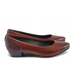 """Дамски обувки от естествена кожа с """"кроко"""" мотив Jana 8-22200-27 бордо кроко"""