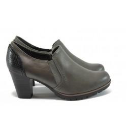Дамски обувки на ток с кроко мотив Jana 8-24461-27 сив