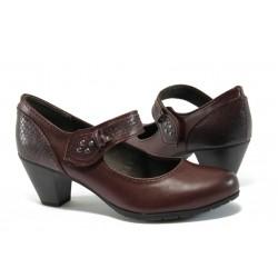 Дамски обувки на ток с кроко мотив Jana 8-24460-27 бордо