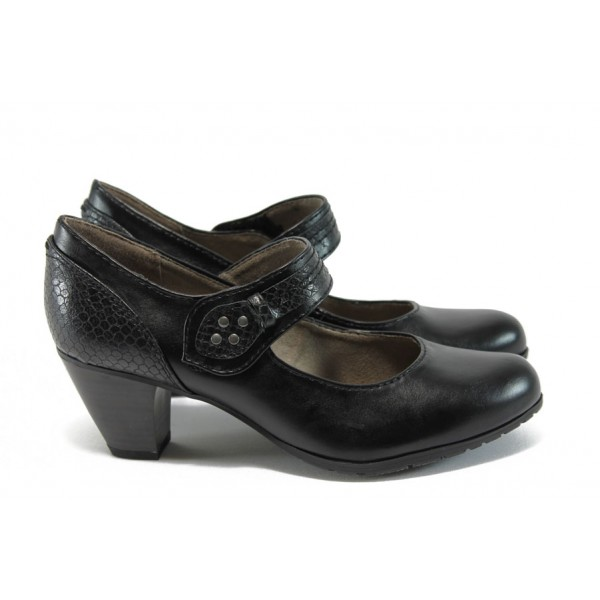 Дамски обувки на ток с кроко мотив Jana 8-24460-27 черен