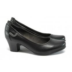 Немски обувки на ток от естествена кожа Jana 8-22404-27 черен