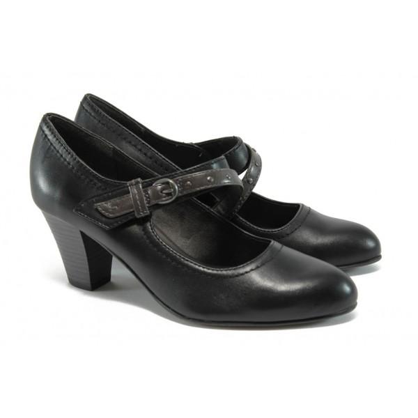 Дамски обувки на ток от естествена кожа Jana 8-24302-27 черен