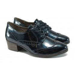 Дамски лачени обувки на ток Jana 8-23360-27Н т.син