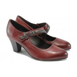 Дамски обувки на ток от естествена кожа Jana 8-24302-27 бордо